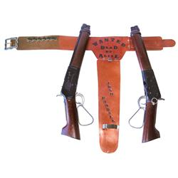 Wanted Dead or Alive toy gun lot (3); includes Josh Randall leather shotgun holster & 2 Mares Laig s