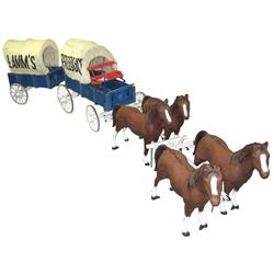 Horse-drawn covered wagon display, includes 4 cast alum horses & 2 covered wooden wagons, ea horse i