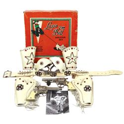 Toy cap gun & holster set in orig box, Lasso 'em Bill Holster Set by Keyston Bros., includes jeweled