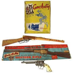 """Gene Autry lot of 3: includes Flying A Ranch 50 Shot repeating rifle in orig box, 26.5""""L, rifle in E"""