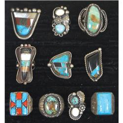 Jewelry, (10) rings w/turquoise, onyx & mother-of-pearl stones, all different styles & sizes, a grea
