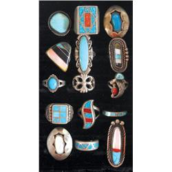 Jewelry, (15) rings w/turquoise, onyx & mother-of-pearl stones, all different styles & sizes, a grea