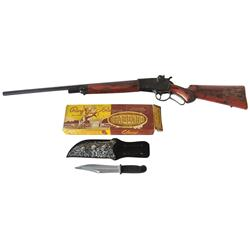 Roy Rogers toys (2), leather scabbard w/toy knife in orig box & Roy Rogers cap gun rifle, both c.195