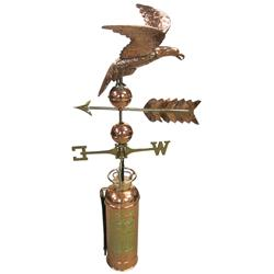 """Copper eagle weathervane w/fire extinguisher base, restored & re-plated, c.1900's, Exc cond, 53""""H."""