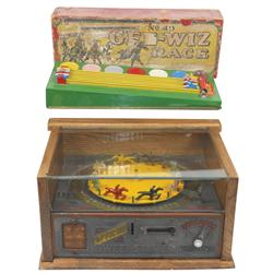 Coin-operated horserace machine, The Official Sweepstakes, c.1940's, replacement wooden cabinet, Gee
