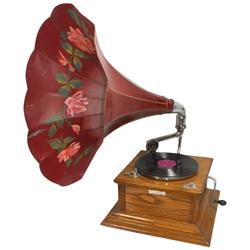 Victrola w/metal morning glory horn, orig metal tag reads  So. Cal. Music Co.-LA , oak case w/polish