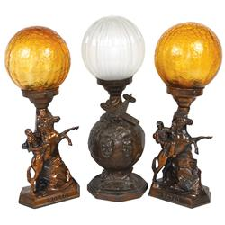 Roy Rogers rodeo lamps w/globes, 16 H & Will Rogers Wiley Post lamp w/globe, 17 H, both c.1940's-195