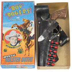 Roy Rogers cap gun & holster in box by Classy Products, c.1950's, VG cond, box is 11.5 H x 5.5 W.