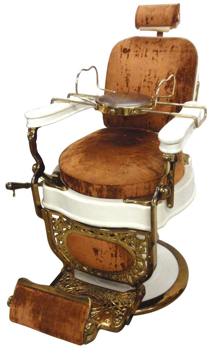 Barber Chair, Mfgd By Theo Koch Chicago, White Porcelain W/brass Plating.  Loading Zoom