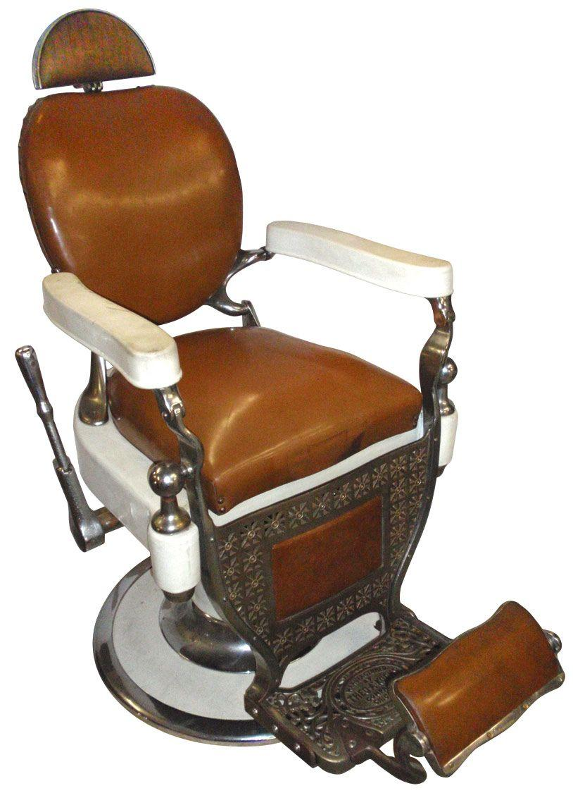 Barber Chair, Mfgd By Theo. Koch Chicago, White Porcelain W/camel. Loading  Zoom