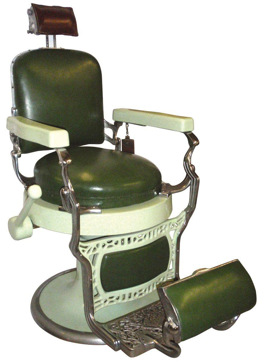 Antique barber chairs koken - Barber Chair Mfgd By Koken Round Seat Green Porcelain W Orig Green Loading Zoom