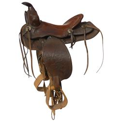 Roy Rogers child's saddle, embossed Roy Rogers w/Roy on Trigger, wooden stirrups, licensed, 11  seat