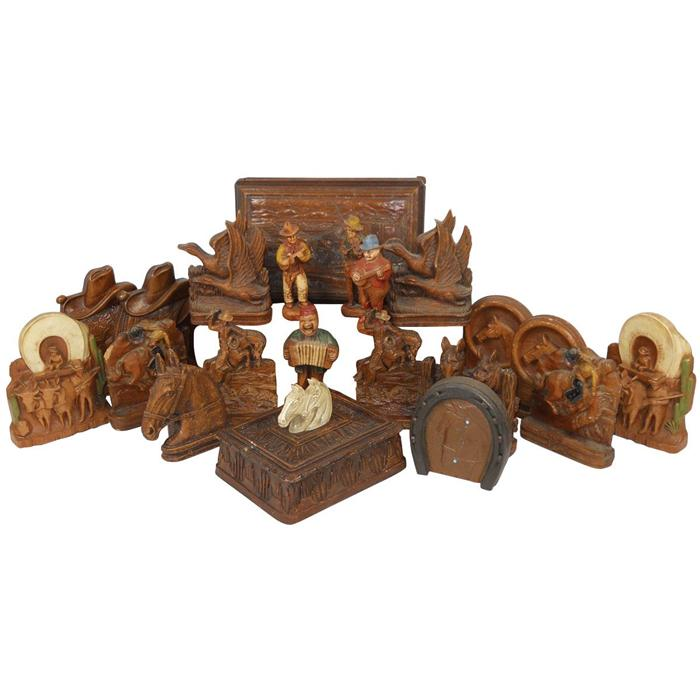 Western syroco wood items 16 pcs includes playing card holders western syroco wood items 16 pcs includes playing card holders bookends covered box whorse co colourmoves