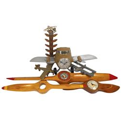 Vintage airplane items, Sessions self starter, missing one propeller, wooden airplane tie rack, Spir