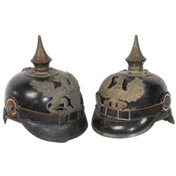 Militaria, 2 helmets, WW1 era Baden infantry E.M., griffin hat badge reads F. Fuerst U & wartime Pru