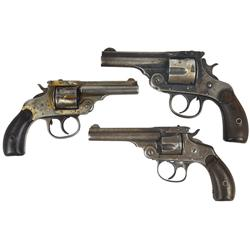 Revolvers (3), Smith and Wesson 32 Double Action Second Model, blued, 3  bbl, Fair to Poor cond, Har