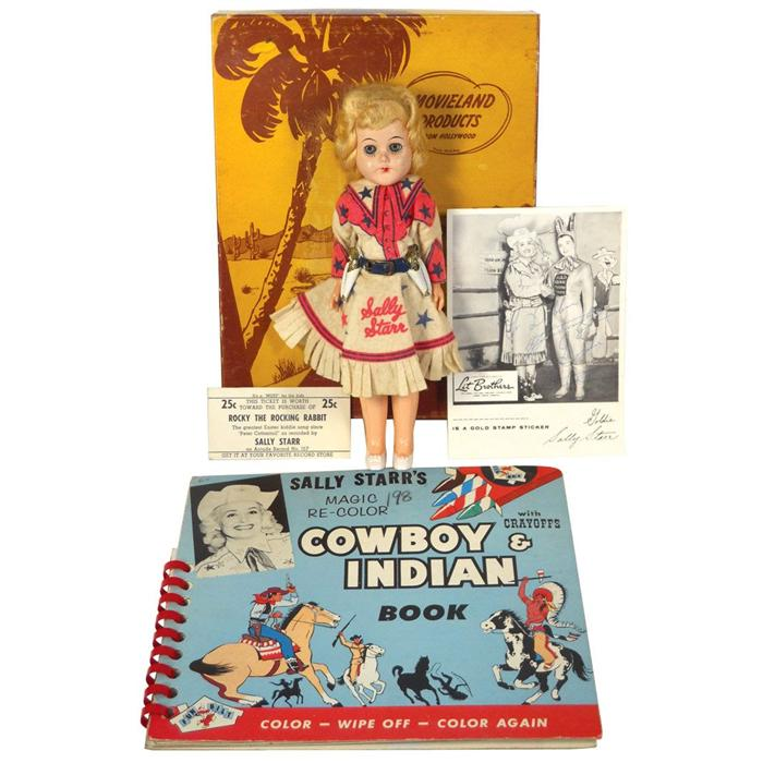 Sally Starr Cowgirl Doll Hard Plastic W Orig Clothing Coloring Book Box Glossy Photo