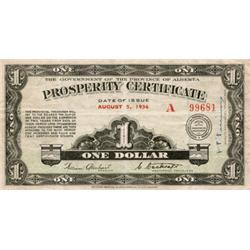 ALBERTA PROSPERITY CERTIFICATE.  $1.00.  August 5, 1936.  CH-A-1.  No. 99681.  Three stamps on back.