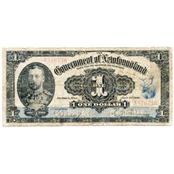 NEWFOUNDLAND GOVERNMENT CASH NOTE.  25 Cents.  1913-14.  CH-7d.  No. 02703.  GOOD+;  GOVERNMENT OF N
