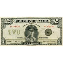 DOMINION OF CANADA.  $2.00.  June 23, 1923.  DC-26j.  Black Seal.  No. T-261987/C.  Fine/Very Fine.