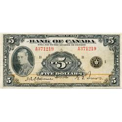 BANK OF CANADA.  $1.00.  1935 Issue.  BC-1.  English Text. No. A0791258.  VG;  $1.00.  1935 Issue.
