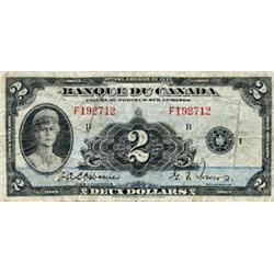 BANK OF CANADA.  $2.00.  1935 Issue.  BC-4.  French Text.  No. F192712.  VG.