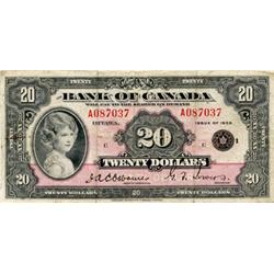BANK OF CANADA.  $20.00.  1935 Issue.  BC-9b.  English Text. Small Seal.  No. A087037/C.  Ink mark o