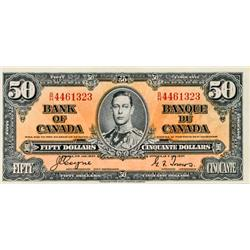 BANK OF CANADA.  $50.00.  1937 Issue.  BC-26c.  No. B/H4461323.  About Extra Fine.