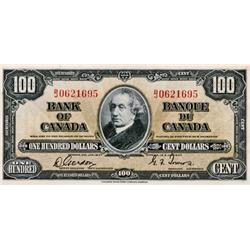 BANK OF CANADA.  $100.00.  1937 Issue.  BC-27b.  No. B/J0621695.  Very Fine+.