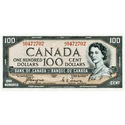 BANK OF CANADA.  $100.00.  1954 Issue.  BC-35a.  'Devil's Face'.  No A/J0472702.  About Extra Fine.