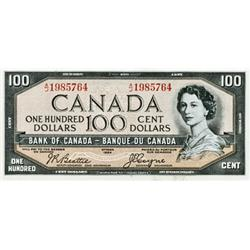 BANK OF CANADA.  $100.00.  1954 Issue.  BC-35b.  'Devil's Face'.  No. A/J1985764.  Extra Fine.