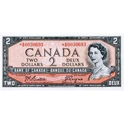 BANK OF CANADA.  $2.00.  1954 Issue.  BC-38aA.  No. *A/B0030693.  AU+.