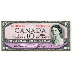 BANK OF CANADA.  $10.00.  1954 Issue.  BC-40aA.  No. *A/D0015704/  A bright and crisp AU.