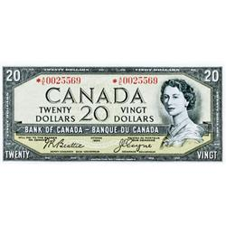 BANK OF CANADA.  $20.00.  1954 Issue.  BC-41Aa.  No. *A/E0025569.  Very Fine+.