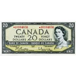 BANK OF CANADA.  $20.00.  1954 Issue.  BC-41bA.  Bo *V/E0164656. A bright Very Fine.