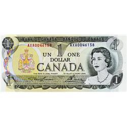 BANK OF CANADA.  $1.00.  1973 Issue.  BC-46aT-i.  No. AXA0046158.  Steel. Choice Unc.