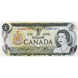 BANK OF CANADA.  $1.00.  1973 Issue.  BC-46aA-i.  No. EAX0077211.  Steel.  Choice Unc.