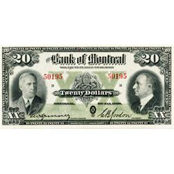 THE BANK OF MONTREAL. $20.00. Jan. 3, 1938. CH-505-60-06. No. 50195/D. Crisp Unc.