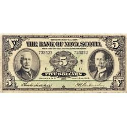 THE BANK OF NOVA SCOTIA. $5.00. 1918. CH-550-30-02. No. 723522/D. PMG graded VG-10.
