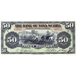 "THE BANK OF NOVA SCOTIA. $50.00. Jan. 2, 1925. CH-550-28-28. No. 17213/A.  Good body, but a 1/2"" tea"