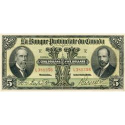 LA BANQUE PROVINCIALE DU CANADA. $5.00. 1928. CH-615-14-08. No. L381356. PCGS graded Apparent Very F