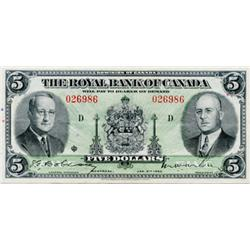 THE ROYAL BANK OF CANADA. $5.00. 1943. CH-630-20-02. No. 026986/D. PMG graded Very Fine-35. EPQ. Onl