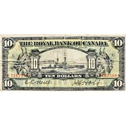THE ROYAL BANK OF CANADA. $10.00. Jan. 2, 1913. CH-630-12-08. Neill-Holt. No. 316589/C. BCS graded V