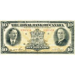 THE ROYAL BANK OF CANADA. $10.00. 1927. CH-630-14-08. No. 1367854/B. PMG graded Very Fine-20.