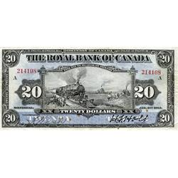 THE ROYAL BANK OF CANADA. $20.00. Jan. 2, 1913. CH-630-12-10. No. 214108/A. PMG graded Very Fine-20.