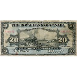 THE ROYAL BANK OF CANADA. $20.00. Jan. 2, 1913. CH-630-12-12. Neill-Holt. No. 406659/A. BCS graded G