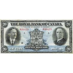 THE ROYAL BANK OF CANADA. $20.00. 1927. CH-630-14-10. No. 036423/A. PMG graded Very Fine-20. Only tw