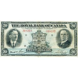 THE ROYAL BANK OF CANADA. $20.00. 1927. CH-630-14-12. No. 318277/B. PMG graded Very Fine-20.
