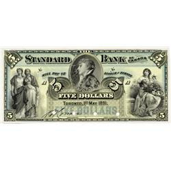 THE STANDARD BANK OF CANADA. $5.00. May 1, 1891. CH-695-14-02P. Blue tint. A full colour Face Proof