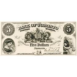 THE BANK OF TORONTO. $5.00. July 1, 1890. CH-715-22-02P. Plate letter 'D'. Full colour Face and Back